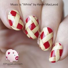 """I found this idea from @nailallie and it made my mouth water! The base is @artisticnaildesign Mischief is my Middle Name. I'm happy I found a way to use this bright firetruck red because it's perfect for the season. I painted the pastry stuff with acrylic paint. Music is """"White"""" by Kevin MacLeod"""