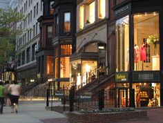 Feel like taking a stroll? Try walking down Newbury Street, where you'll find lots of shops and restaurants. Beautiful Streets, Beautiful Places, Boston Brownstone, Newbury Street Boston, Walking City, In Boston, Boston Strong, Vacation Trips, Vacation Travel