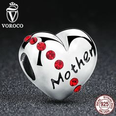 Authentic 925 Sterling Silver Red Crystals Heart Mother Beads Charms fit Pandora Bracelets Mother C018