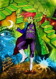 Shade The Changing Man. Digital mixed media by Damian K. Sheiles.
