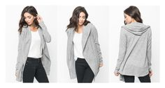"""Grey hooded cardigan - Caralase"" by caralasefashion ❤ liked on Polyvore"