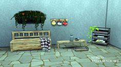 """leo-sims: """" RUSTIC SET SET INCLUDES • Bench • Small Table • Wall Shelves • Crate Shelf • Crate Tray Deco • Milk Jug • Deco Traty All converted from sims 2 - Anye Thanks to my dear friend 13pumpkin for the slots DOWNLOAD  """""""