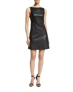 Mivrill Stretch Leather A-Line Dress, Black - Theory