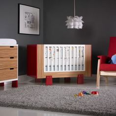 Dutailier Papaya Crib for your modern, organic, green and minimalist baby nursery. Shown in Red and Exotic Natural (comes in additional colors). wood and eco-friendly. Modern Crib, Minimalist Baby, Baby Furniture, Nursery Decor, Nursery Sets, Baby Cribs, Color Inspiration, Baby Room, Toddler Bed