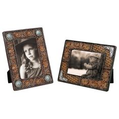 Faux Tooled Leather Photo Frames