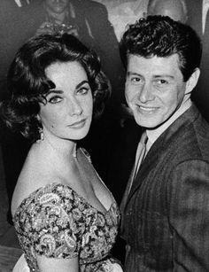 *ONE OF HOLLWOOD's ~ most scandalous couples. Taylor and Eddie Fisher, in 1959.  This was after Mike Todd died - she then left Eddie for Richard Burton - she actually doesn't look very happy here