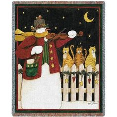 Joy To The World Woven Throw Blanket by Deb Strain©