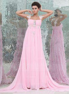Empire Watteau Train Chiffon Evening Dress With Ruffle Lace Beading