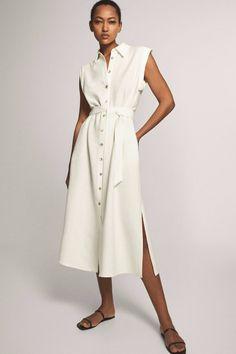 Massimo Dutti - Women - Shirt Dress With Belt - Cream - 44 Dress Shirts For Women, Clothes For Women, Jumpsuit Dress, Shirt Dress, Smart Casual Women, Quirky Fashion, Online Dress Shopping, Shopping Shopping, Shopping Websites