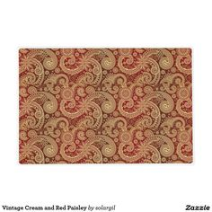 Vintage Cream and Red Paisley Laminated Placemat