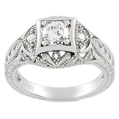 It's not real, but I still like it! @Overstock - Vintage-style cubic zirconia ringSterling silver jewelry Click here for ring sizing guidehttp://www.overstock.com/Jewelry-Watches/Tressa-Collection-Sterling-Silver-Vintage-CZ-Bridal-Engagement-Ring/2869562/product.html?CID=214117 $26.99