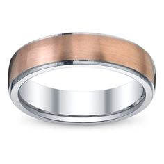 This White Gold Band Outlined In Rose Will Handsomely Complement Your Groom On The Day Men S Wedding Bands Pinterest