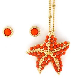 Starfish Pendant Set in Dotted Coral | Awesome Selection of Chic Fashion Jewelry | Emma Stine Limited
