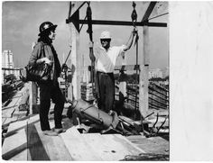 Lina Bo Bardi at the construction site of the MASP building