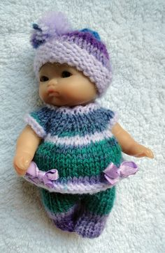 """Hand Knitted Clothes for Berenguer, Ooak Doll, 3.5""""-4""""; 5""""; 6.5""""-7""""; 8"""" (#294)"""