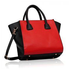 Barva kabelky: černo-červená. Velikost: 31 cm x 30 cm. Kabelka na zip s otevřenou kapsou uvnitř. Hezká, elegantní kabelka v oblíbené barevné kombinaci.