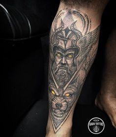 Odin . . Contato para orçamento e agendamento somente pelo WhatsApp 27 999805879 . . Não respondo direct. . #kadutattoo #tattoo #tattoos #tattoo2me #tatuagem #tatuagens #tatuaje #odin #odintattoo #nordic #wolf #wolftattoo #vikings