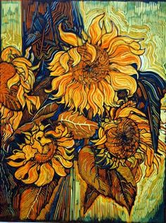 """Helianthus 2"" - Flowers - Floral - Gold, yellow, orange, blue, green - Linocut - Still Life - Myrtle Pizzey 