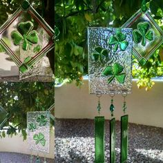 Happy Shamrock chime and sun catchers. All hand cut and beaded. Glass Garden Art, Glass Art, Mosaic Glass, Fused Glass, Delphi Glass, Glass Wind Chimes, Stained Glass Projects, Glass Flowers, Artist Gallery