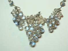 Antique Blue Moonstone Grapes Necklace