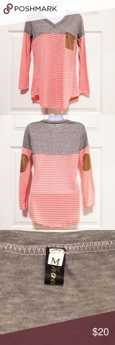 🎉NWOT!😳 Coral and White Striped Top NWOT! 🎉 Coral and white striped shirt with faux suede pocket and elbow patches. Heathered grey across shoulders and chest.   •size medium •chest 16 in •length from arm pit to hem 16 1/4 Tops Tees - Long Sleeve