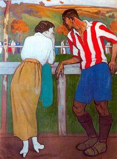 Dialogo en el campo de sport, Aurelio Arteta Basque Country, Cool Artwork, Vintage Posters, Art History, Sport, Art Projects, Fine Art, Drawings, Illustration