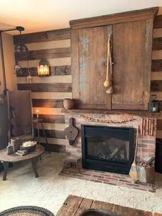 Primitive Decor Article Physique: Listed here are a number of ideas for creating an exquisite hangin Primitive Homes, Country Primitive, Primitive Decor, Farmhouse Fireplace, Primitive Fireplace, Log Cabin Living, Modern Sink, Maternity Shops, Cabin Kits