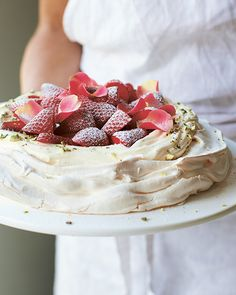 Rose Water & Pistachio Pavlova with Strawberries from Amber Rose's 'Love, Bake, Nourish' #SweetPaul #AmberRose