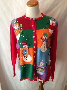 TIARA INTERNATIONAL red snowman Santa Ugly Xmas Sweater Cardigan M NEW NWT