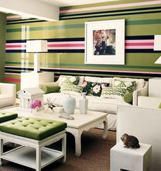 Pink Green Stripe Wall...example of striping for fireplace in family room