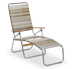 Telescope Casual Multi Position Folding Beach Chaise Lounge, Opal by Telescope Casual. $168.12. Overall dimension 26-inch width by 44-inch overall h seat height 16-inch. Solid wood armrests add attractive contrast. Made in the usa. Weather-resistant fabric, Easy to fold for transporting and storage. Light weight multi position folding chaise lounge is perfect for the beach or at home on the patio 3 position lay flat back easy to fold for transporting and storage. Telescop...