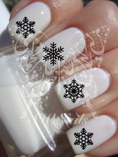 Wrap over a plaid base - Christmas Xmas Nail Art Black Snowflakes Water Decals Nail Transfers Wraps