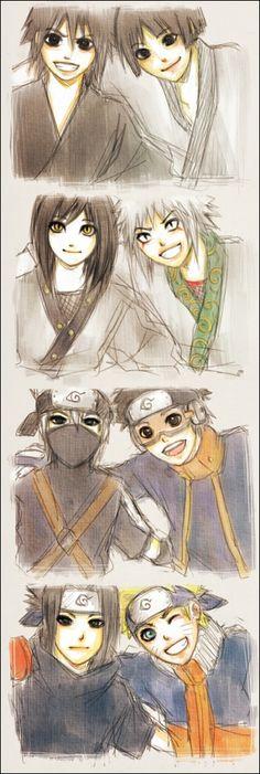 """Madara, Hashirama, Orochimaru, Jiraya, Kakashi, Obito, Sasuke and Naruto """"don't worry everyone has a crazy friend"""""""