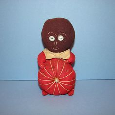 Sewing Pin Cushion Novelty Black Cloth Doll Holding Red Tomato Vintage Sewing Accessory by thenewenglandhuswife on Etsy