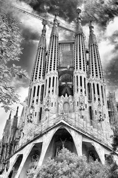 Sagrada Familia Tower Bridge, Black And White, Building, Pictures, Photography, Travel, Sagrada Familia, Photos, Photograph