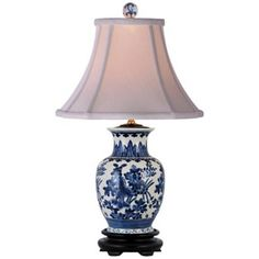 """Floral Blue and White Oval Porcelain Vase Footed Table Lamp - 209 - 20.5"""" high"""