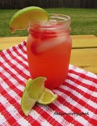 Cherry Limeade Beer-Garita  12 oz Cherry 7-Up  12 oz Tequila  12 oz Corona  12 oz frozen Minute Made Limeade concentrate    Serve in a mason jar with cherry and lime to garnish.