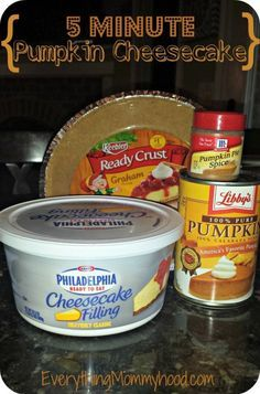 Recipe: 5 Minute Pumpkin Cheesecake with Libby's Pumpkin Puree - Eve. - Recipe: 5 Minute Pumpkin Cheesecake with Libby's Pumpkin Puree – Everything Mommyho - Dessert Simple, Bon Dessert, Libby's Pumpkin, Pumpkin Dessert, Pumpkin Spice, Libby Pumpkin Pie, Pumpkin Foods, Vegan Pumpkin, The Cheesecake Factory
