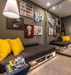 When it comes to a teenage boy bedroom makeover it's important to consider the kind of bedroom decor which appeals … Boys Car Bedroom, Boys Bedroom Curtains, Gamer Bedroom, Boys Bedroom Decor, Teen Bedroom, Boy Room, Decoration, Decor Ideas, Furniture Stores