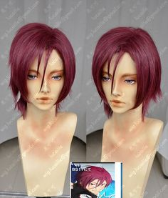 Free! Matsuoka Rin Burgundy Short Cosplay Party Wig_Lucaille WIG