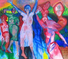 Painting by Monica Klemming // Kvinnor vid havet // 158 x 190 cm // acryl, canvas