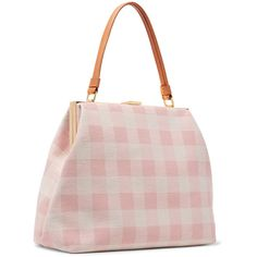 Mansur Gavriel Elegant leather-trimmed checked cotton-blend canvas... ($790) ❤ liked on Polyvore featuring bags, handbags, tote bags, mansur gavriel tote, canvas totes, pink tote bags, canvas tote handbags and pink purse
