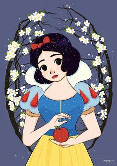Snow White - February 2019 - MayMay 美美 Disney Fan Art, Disney Pixar, Disney Characters, Fictional Characters, Seven Dwarfs, Princesas Disney, Snow White, February, Animation