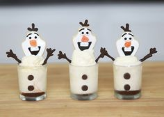 Olaf Frozen Treats! Made these with mini-dessert cups, vanilla ice cream, chocolate details, and a sugar cookie on top!