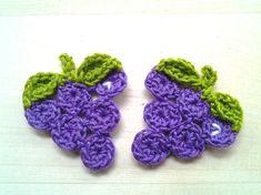 4pcs  Grape Crochet Appliques  made to order by appliquefarm, $3.20
