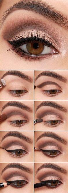 58 Trendy makeup eyeliner step by step make up Eyeshadow Tutorial Natural, Simple Eyeshadow, Brown Eyeshadow, Natural Eyeshadow, Bright Eyeshadow, Best Makeup Tutorials, Makeup Tutorial For Beginners, Best Makeup Products, Makeup Ideas