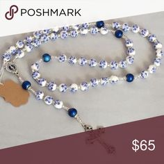 Rosary Beautiful blue and white rosary. Great for any occasion, first communion, birthday, Mother's Day, or even your something blue on your wedding day! Handmade and very unique. Follow Beads of Glory on social media for more options!! Accessories