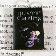 Miniature Classic Novels Book Necklace Charm Coraline by Neil Gaiman