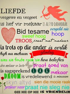 Afrikaanse Inspirerende Gedagtes & Wyshede: Liefde as tema Bible Verses Quotes, Jesus Quotes, Me Quotes, Scriptures, Wedding Couple Quotes, Afrikaanse Quotes, Card Sentiments, Empowering Quotes, Strong Quotes