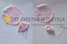 Tutorial fiore di stoffa imbottito passo 04 Cozy Corner, Fabric Flowers, Shabby, Arts And Crafts, Crochet Hats, Homemade, Crafty, Handmade Gifts, Sewing